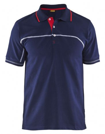 Blaklader 3389 Pique Polo Shirt (Navy Blue/Red)
